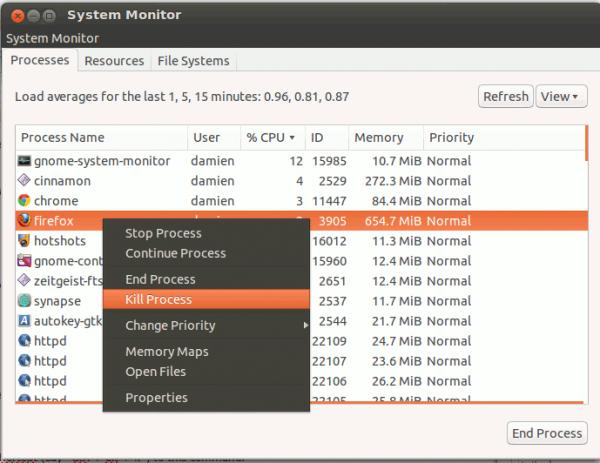 ứng dụng không phản hồi trong Ubuntu