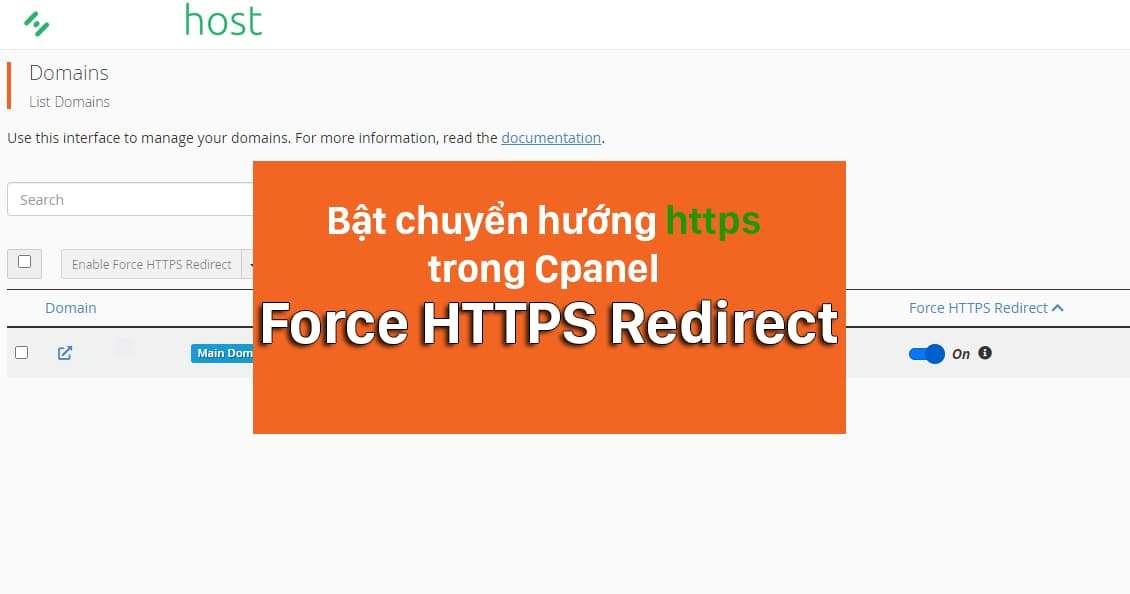 Thủ thuật chuyển hướng Https bằng Force HTTPS Redirect trong Cpanel